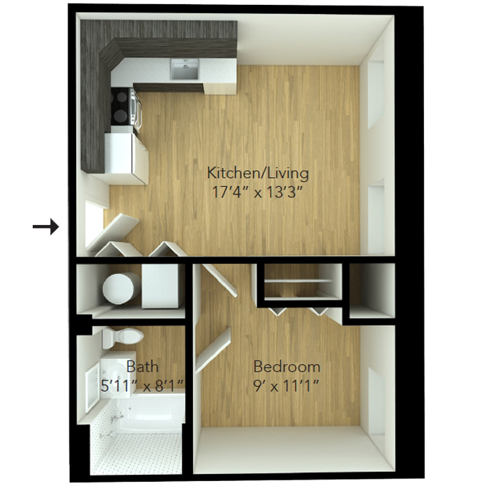 One bedroom apartment floor plan at MKT Place apartments
