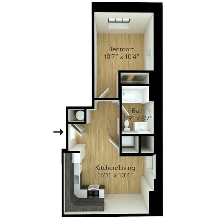 One bedroom floor plan at Wilmington apartment