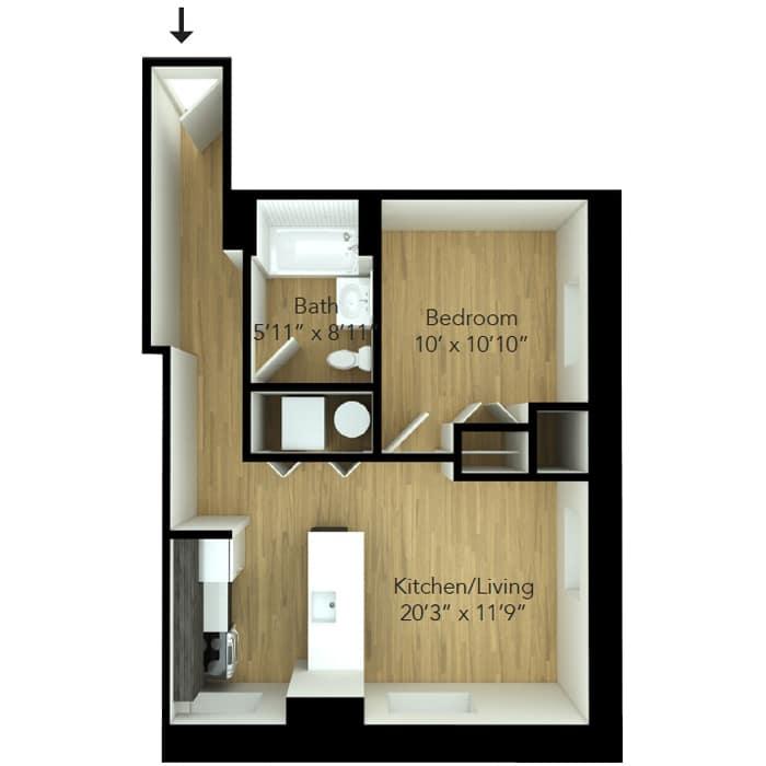 One bedroom floor plan for Downtown Wilmington apartment