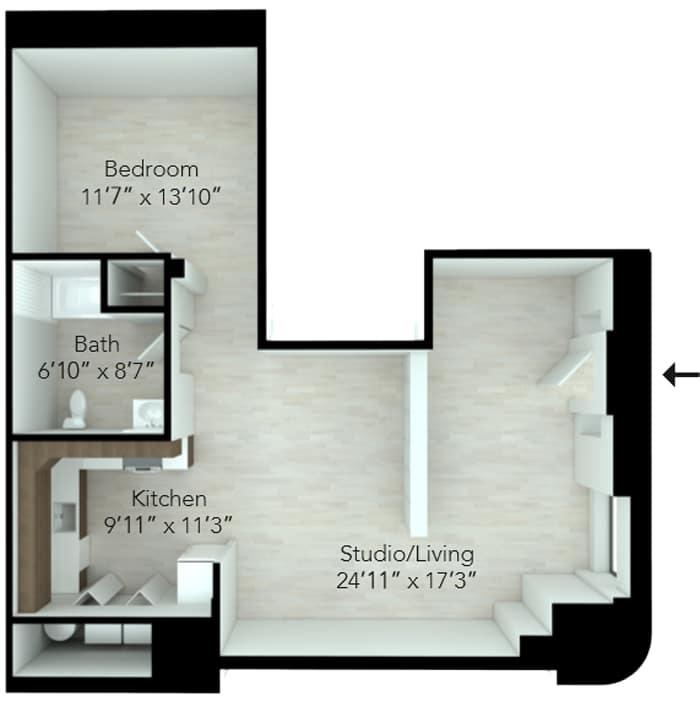 Floor plan for one bedroom apartment in Wilmington
