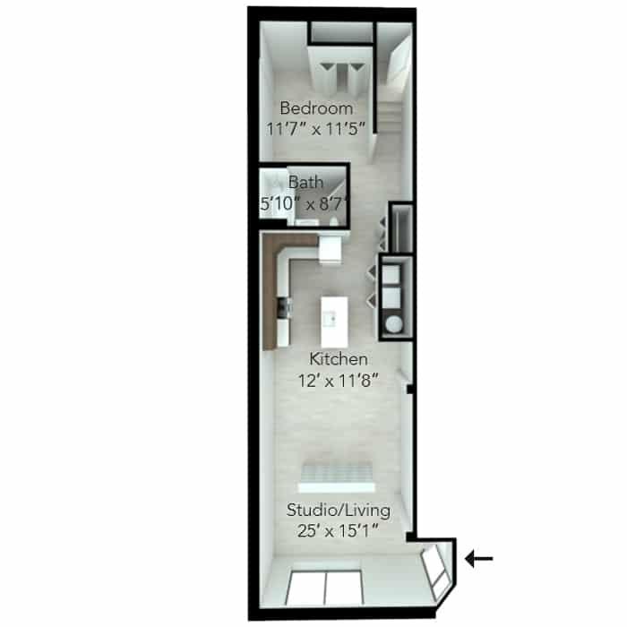 One bedroom loft floor plan at MKT Place