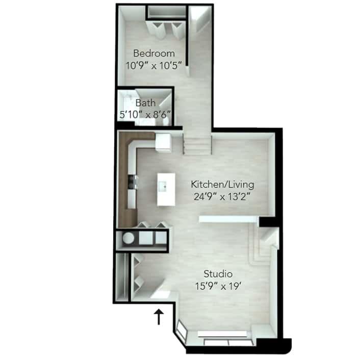 One bedroom loft floor plan at Wilmington, DE apartment