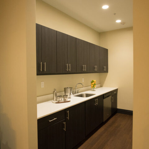 Game room kitchen for residents at MKT Place apartments