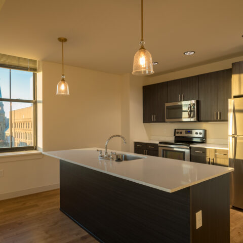 Spacious kitchen with stainless steel appliances in Wilmington, DE apartment