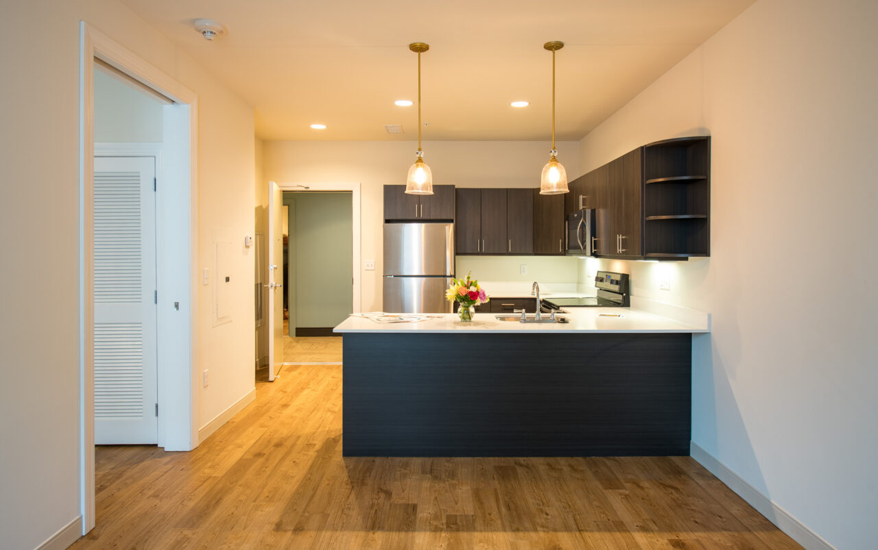 Open floor plan with stainless steel appliances in kitchen in downtown wilmington apartment