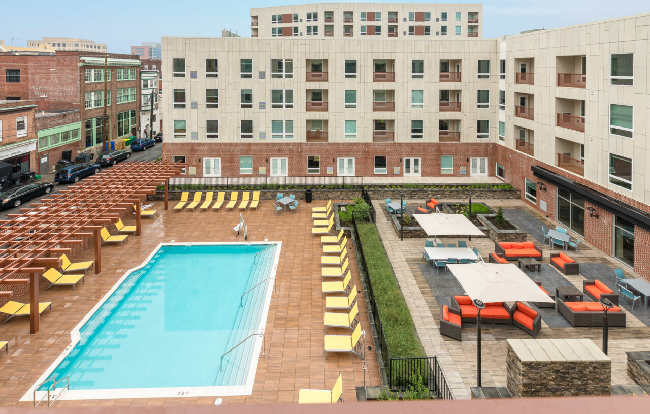 The residences at mid-town park courtyard and pool