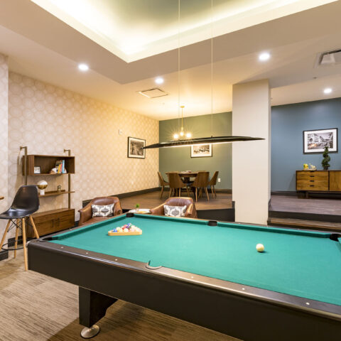 Resident area with pool table in MKT apartments