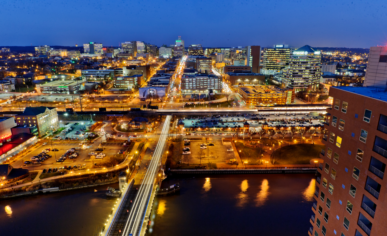 Birds eye view of Downtown Wilmington at night