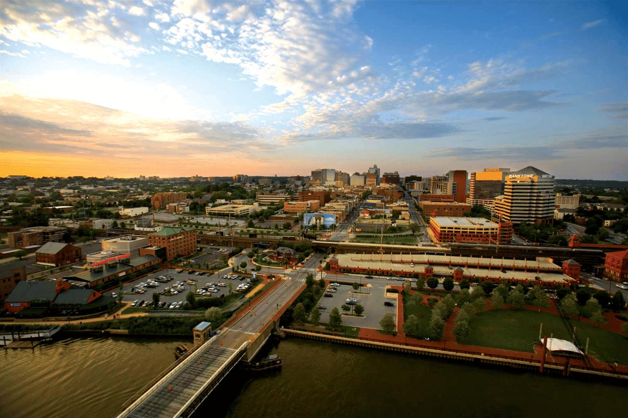 Birds eye view of Downtown Wilmington, DE