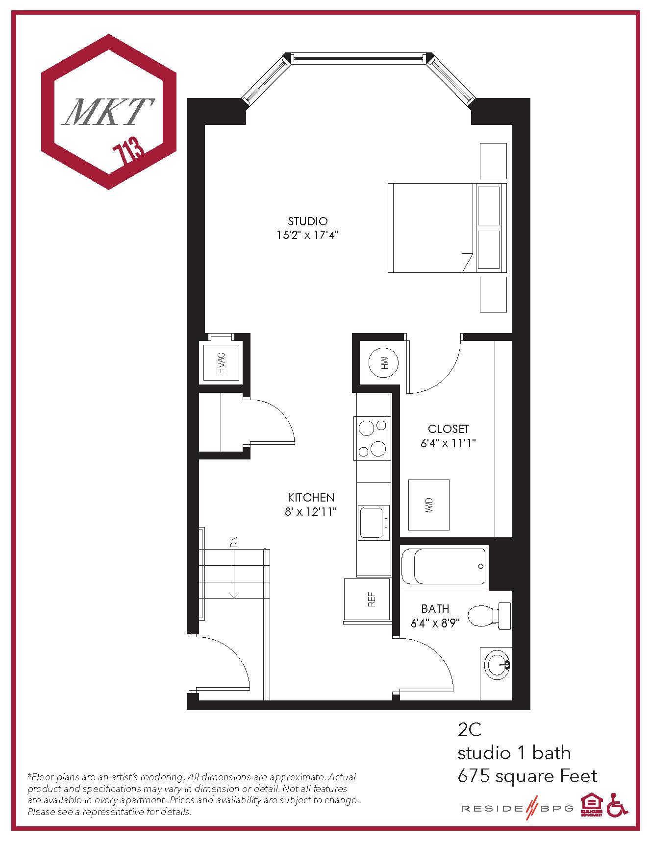 Studio apartment floor plan for downtown wilmington, de apartment