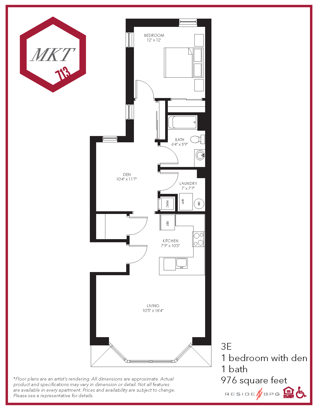 Market Street one bedroom apartment floor plan