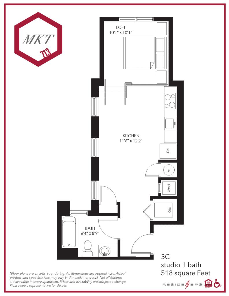Studio apartment floor plan for downtown wilmington, de apartment