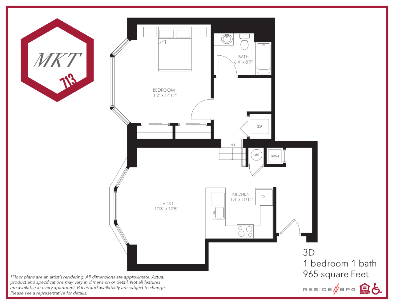 Market Street one bedroom apartment floor plan